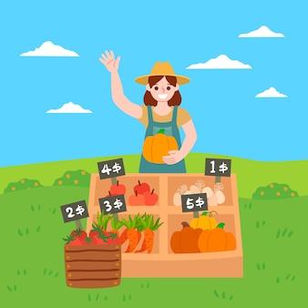 Ökologisches landwirtschaftskonzept mit gemüse