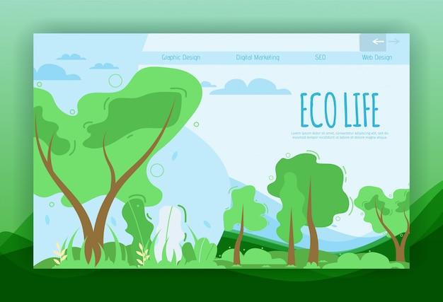 Ökologisches leben, das flache fahnen-schablone für landing page beschriftet