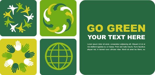 Ökologisches plakat mit grünem globusmotiv