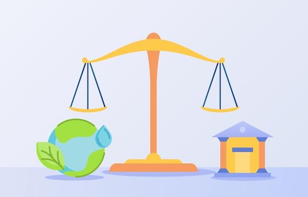 Ökologisches rechtskonzept mit skalenbalance und weltikone mit flachem stil