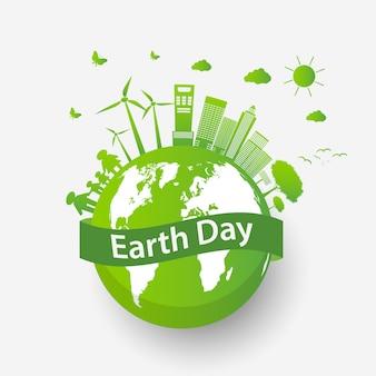 Ökologisches stadtkonzept und umwelt mit umweltfreundlichen ideen