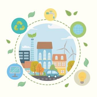 Ökostadt und retten planetendesign