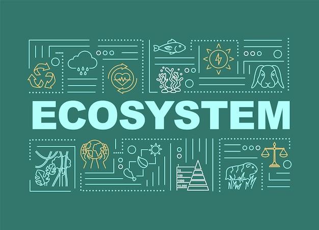 Ökosystem, wortkonzepte der biodiversität banner. natur, gemeinschaft lebender organismen. infografiken mit linearen symbolen auf grünem hintergrund. isolierte typografie. vektorumriss rgb-farbabbildung