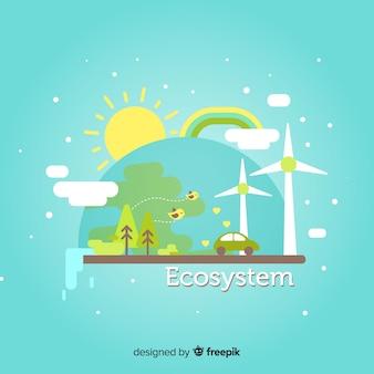 Ökosystemkonzept im flachen design