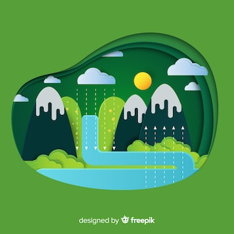 Ökosystemkonzept mit bergen und fluss