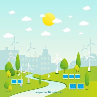 Ökosystemkonzept mit stadthintergrund