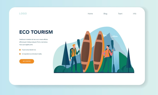 Ökotourismus und öko-reisen web-banner oder landing page