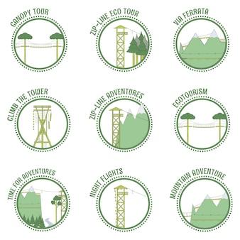 Ökotourismus und zip line briefmarken