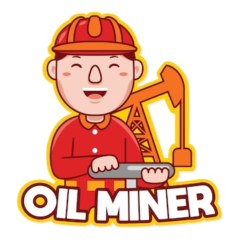 Öl-bergmann-arbeiter-beruf-maskottchen-logo-vektor im cartoon-stil