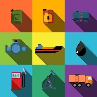 Öl-flachsymbole setzen elemente, bearbeitbare symbole, können in logo, benutzeroberfläche und webdesign verwendet werden