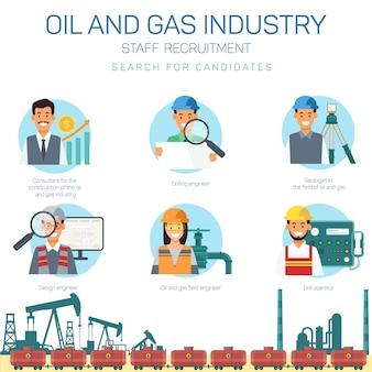 Öl-und gasindustrie. suche nach kandidaten.