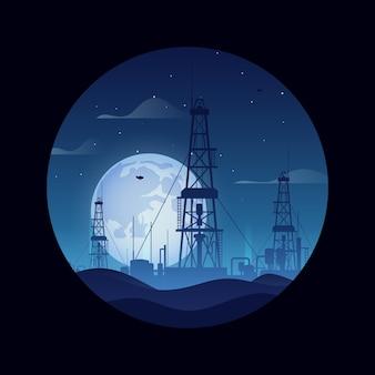 Öl- und gasplattformen über blauer wüstennachtvektorillustration. hintergrund der industrielandschaft