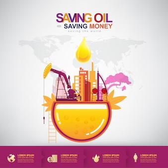 Öl-vektor-konzept, das geld spart