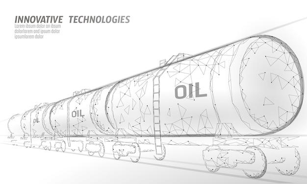 Ölbahnzisterne 3d machen niedrige poly. dieselkraftstofftank der erdölfinanzierungsindustrie. zylinder eisenbahnwagen zug benzin logistik wirtschaftliches geschäft polygonale linie vektor-illustration