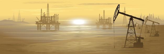 Ölbohrinseln. ölproduktion. illustration