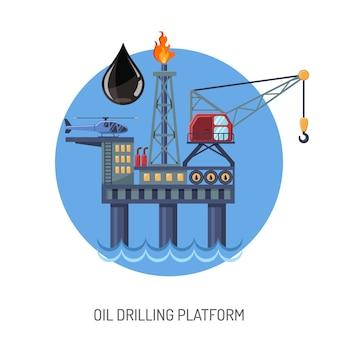 Ölbohrplattformkonzept mit flat icons extraktion und öltropfen. isolierte vektorillustration