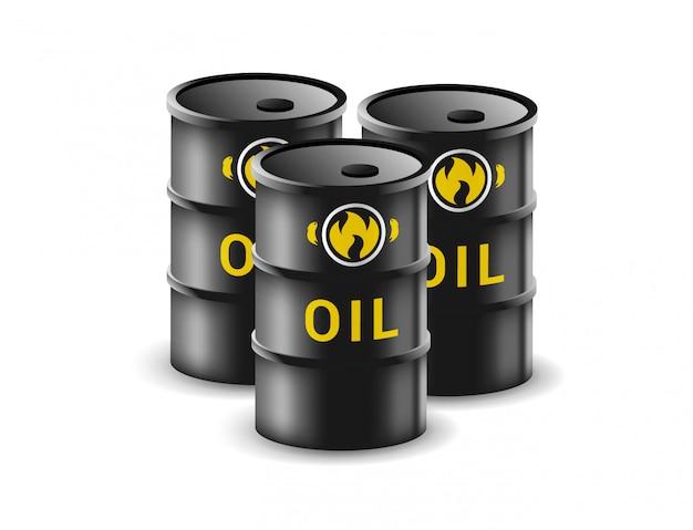 Ölfass auf weißem hintergrund. kanister für benzinillustration im realistischen stil. kraftstofflager