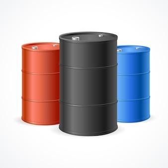 Ölfass-trommel. drei bunte stahlfässer.