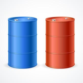 Ölfass-trommel. rotes und blaues fass.