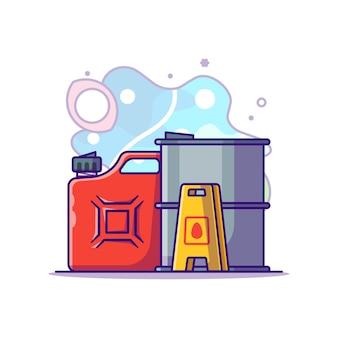 Ölfass und kanister cartoon illustration. tag der arbeit konzept weiß isoliert. flacher cartoon-stil