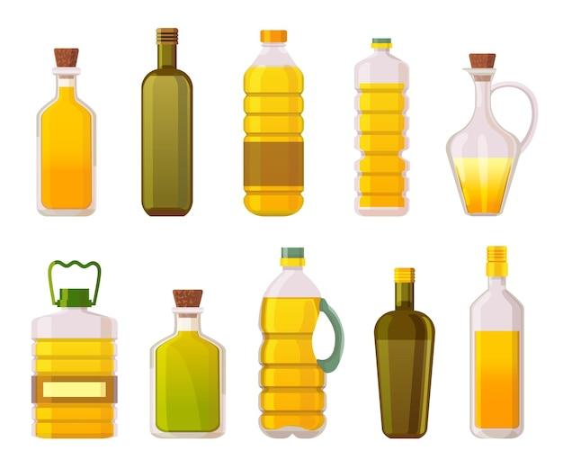 Ölflaschen. sonnenblumen-, oliven-, mais- und pflanzenspeiseöle in glas- und kunststoffverpackungen. extra natives bio-ölprodukte-vektor-set. illustrationsöl sonnenblume oder olive zum kochen