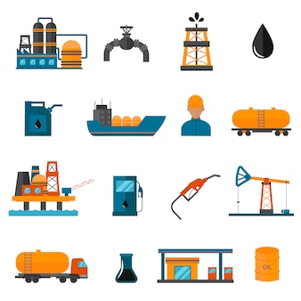 Ölgasindustrie-herstellungsikonen für infographic.