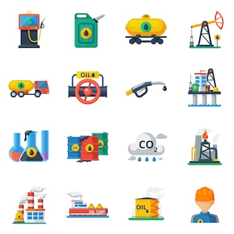 Ölindustrie icons set