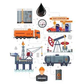 Ölindustrie-infografiken mit flachen symbolen extraktion, produktion und transport von öl und benzin mit ölmann, bohrinsel und fässern. isolierte vektor-illustration.