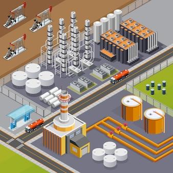 Ölindustrie und transportzusammensetzung mit der isometrischen vektorillustration der großen raffinerie und der pumpjacks 3d
