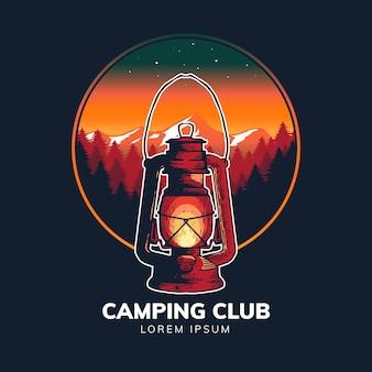 Öllampe mit natur für campingbegeisterte