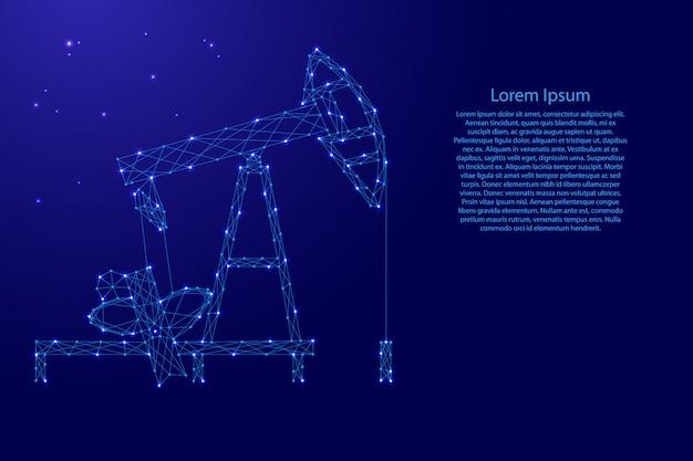 Ölpumpe aus futuristischen polygonalen blauen linien und leuchtenden sternen