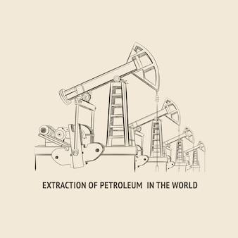Ölpumpe isoliert über weiß und text