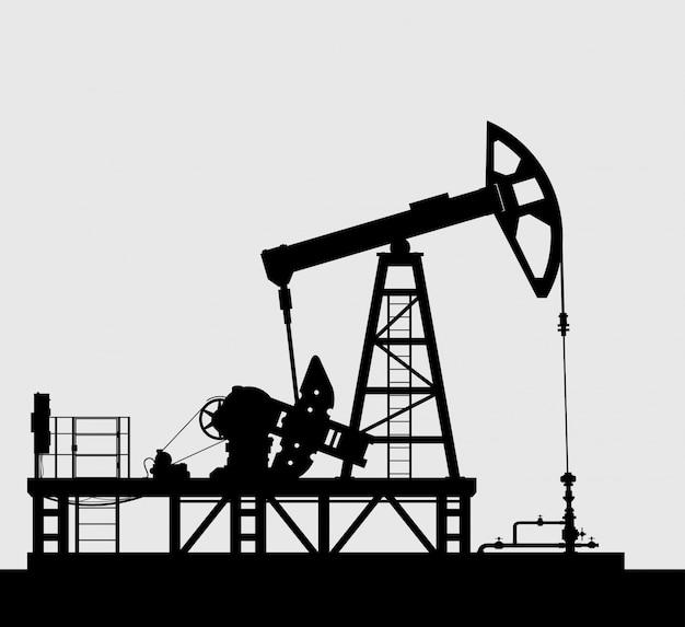 Ölpumpenschattenbild über grau