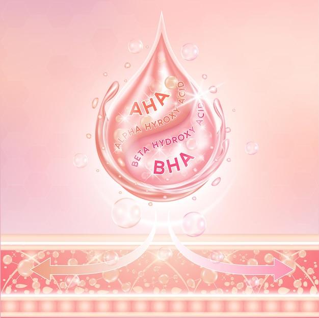 Ölserum-essenz alpha hyroxy acid aha und beta hydroxy acid bha