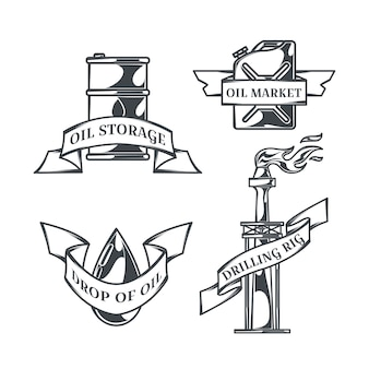 Ölset von isolierten logos im vintage-stil
