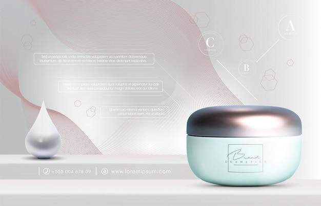 Ölspray für elegante 3d-kosmetikprodukte für hautpflegeprodukte. luxus-gesichtscreme. flyer oder banner-design für kosmetische anzeigen. blaue kosmetische cremeschablone. marke für make-up-produkte.