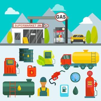 Öltank in fracht service terminal rohrleitung fabrik stromversorgungssystem kraftstoffspeicher gas ölstation stahl chemische pumpe vektor-illustration. transport von tankstellen für erdöltechnologiefabriken