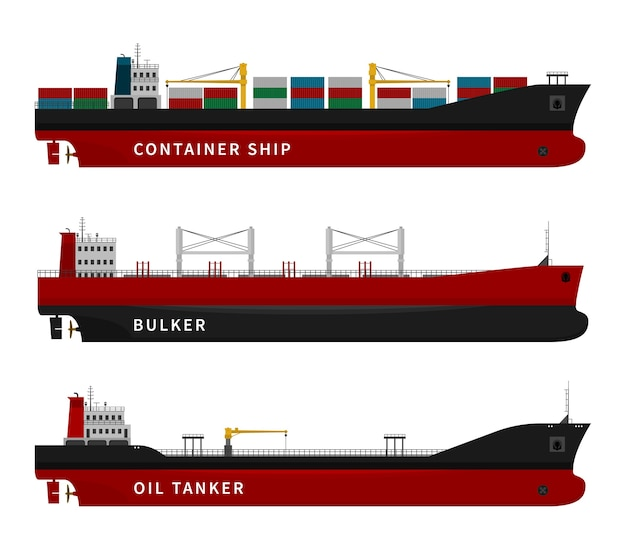 Öltanker, bulker und schiffsillustration