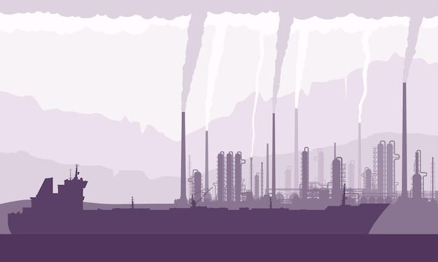 Öltanker und raffinerie oder chemiefabrik mit rauchenden schornsteinen. rohöltransport, -verarbeitung und -raffination. vektor-illustration.