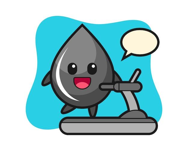Öltropfen-zeichentrickfigur, die auf dem laufband geht
