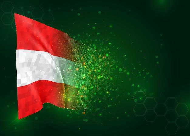 Österreich, 3d-flagge auf grünem hintergrund mit polygonen