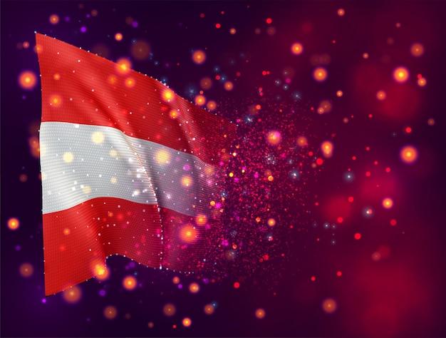 Österreich, 3d-flagge auf rosa lila hintergrund mit beleuchtung und fackeln