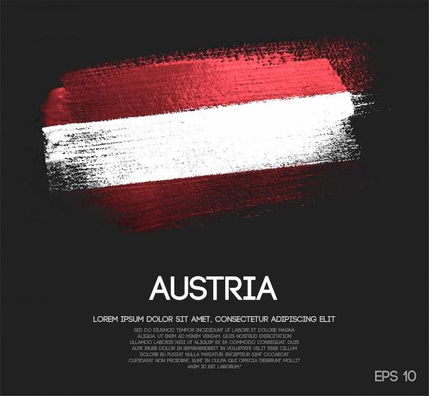 Österreich-flagge gemacht vom funkeln-schein-bürsten-farben-vektor