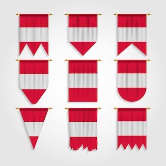 Österreich flagge in verschiedenen formen