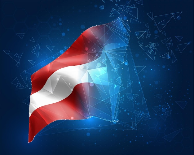 Österreich, flagge, virtuelles abstraktes 3d-objekt aus dreieckigen polygonen auf blauem hintergrund