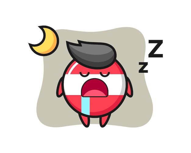 Österreich flaggenabzeichen charakterillustration, die nachts schläft