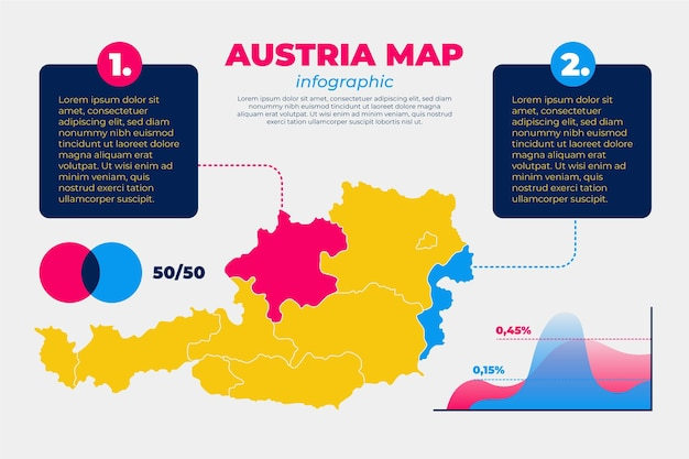 Österreich karte infografik in flachem design