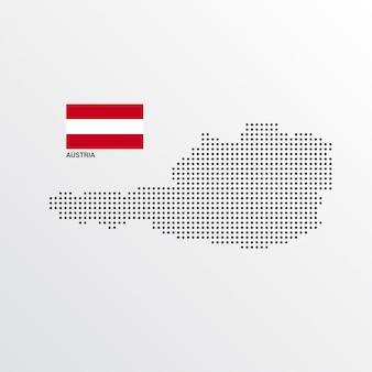 Österreich-kartenentwurf mit flaggen- und hellem hintergrundvektor