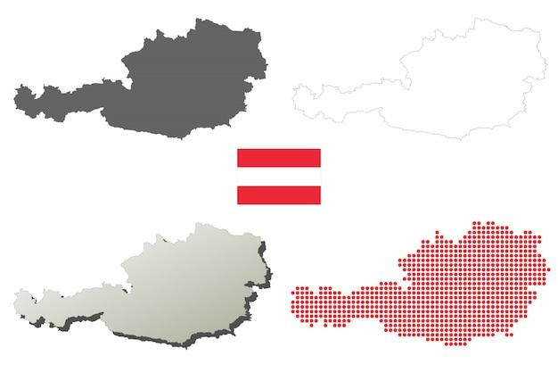 Österreich-vektor umrißlandkartensatz