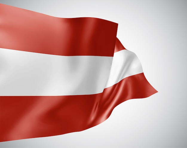 Österreich, vektorflagge mit wellen und kurven im wind auf weißem hintergrund.
